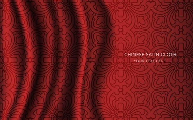 Czerwona satynowa tkanina jedwabna ze wzorem, krzywoliniowa linia geometryczna