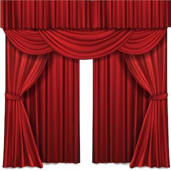 Czerwona scena kurtyna do teatru lub sceny sceny operowej