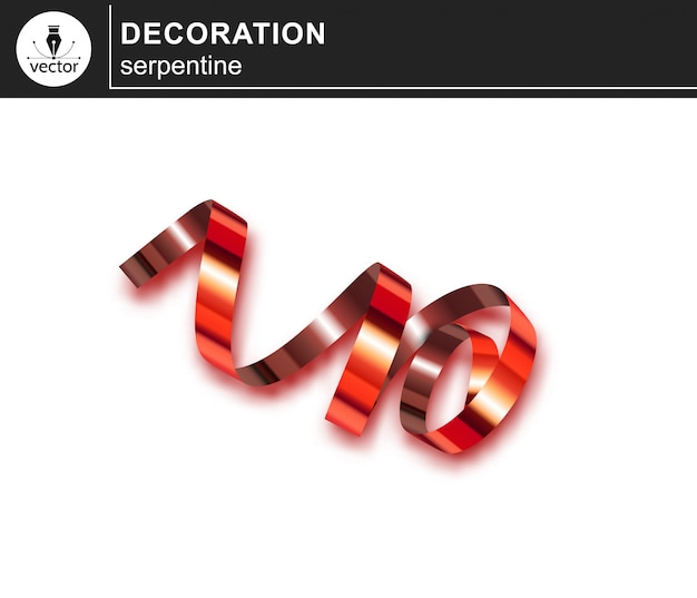 Czerwona serpentyna, obiekt clipart do dekoracji. realistyczny element wystroju.