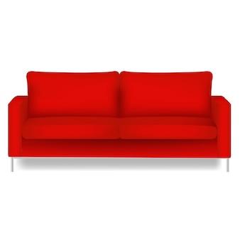 Czerwona sofa na białym tle