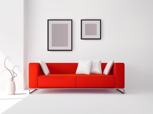 Czerwona sofa z poduszkami i ramkami
