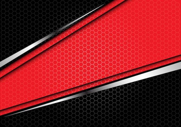 Czerwona srebrna linia czarny sześciokąt siatki futurystyczne tło.