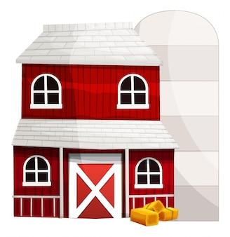 Czerwona stodoła i biały silos