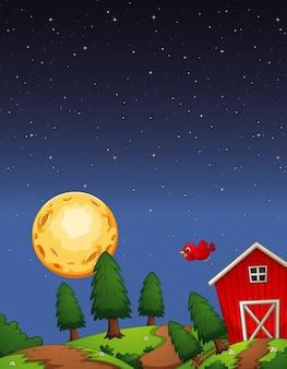 Czerwona stodoła w gospodarstwie w nocy sceny