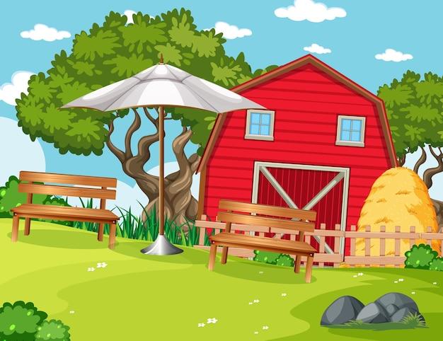 Czerwona stodoła w scenie gospodarstwa przyrody