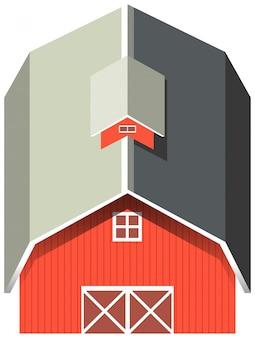 Czerwona stodoła z szarym dachem