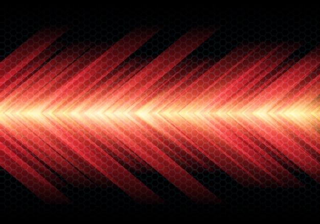 Czerwona strzałka prędkości światła na ciemnym tle siatki sześciokątne.