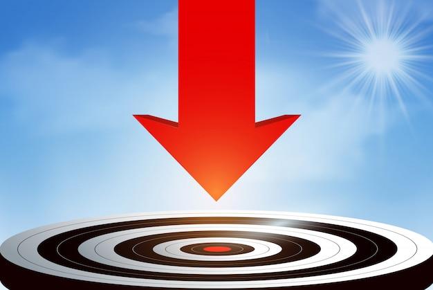 Czerwona strzałka spadająca z nieba skierowana jest na centralny cel