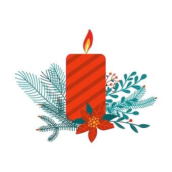 Czerwona świeca boże narodzenie na białym tle.
