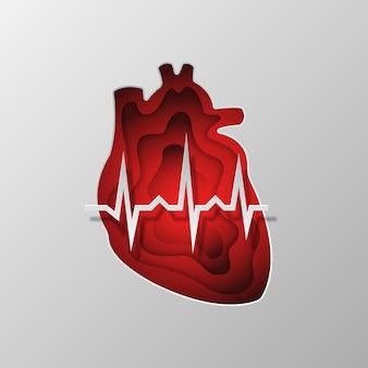 Czerwona sylwetka serca wyryte na papierze.