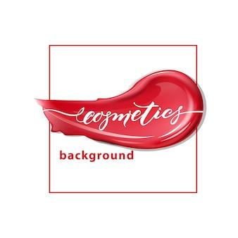Czerwona szminka i szminka rozmazuje na białym tle tło urody i kosmetyków vector