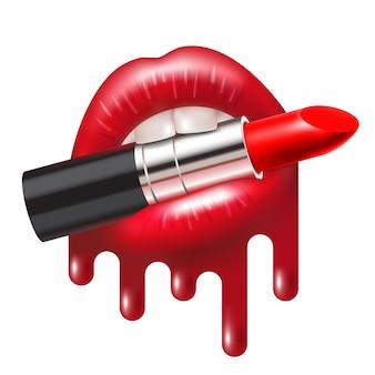 Czerwona szminka w otwartych ustach z błyszczącymi, roztopionymi ustami