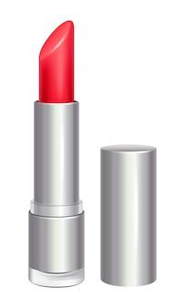 Czerwona szminka w srebrnej tubce. produkt kosmetyczny.