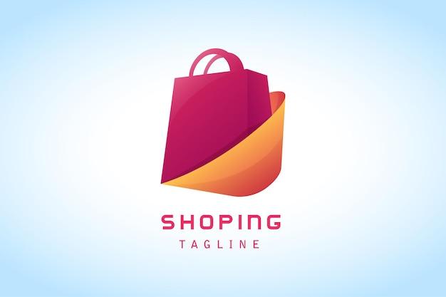 Czerwona torba na zakupy z pomarańczowym logo firmy gradientowej