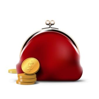 Czerwona torebka ze złotymi monetami