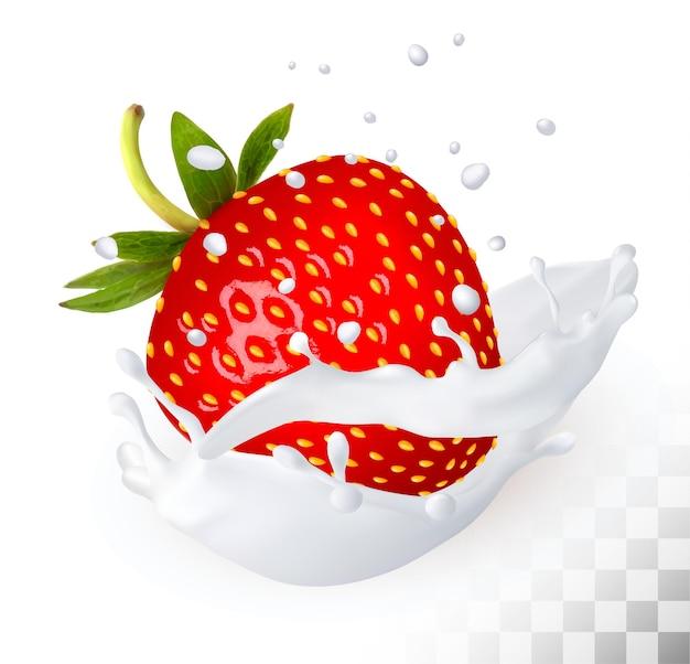Czerwona truskawka w odrobinie mleka na przezroczystym tle. wektor.