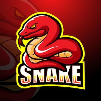Czerwona wąż maskotki esport ilustracja