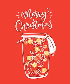 Czerwona wesoła kartka świąteczna z ilustracyjnym słoikiem ze świecącą dekoracją wianka słodki projekt powitalny