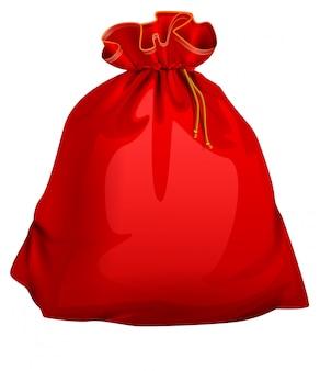 Czerwona wiązana zamknięta pełna santa torba z prezentami. świąteczne akcesoria