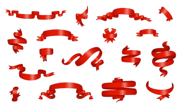 Czerwona wstążka błyszczący zestaw różnych banerów.