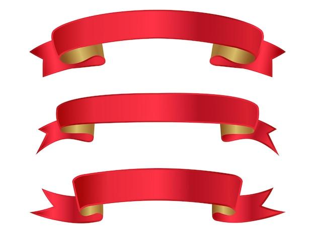 Czerwona wstążka eleganckie banery
