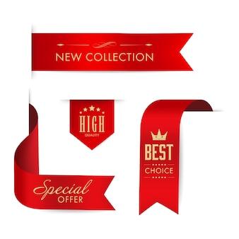 Czerwona wstążka i sztandar luksusowy design.