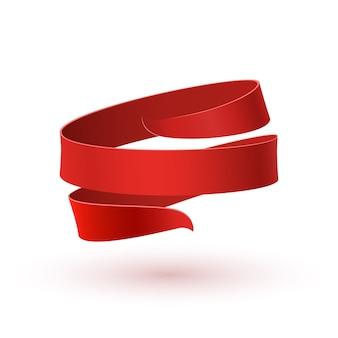 Czerwona wstążka, na białym tle. szablon karty z pozdrowieniami, broszury lub plakatu.