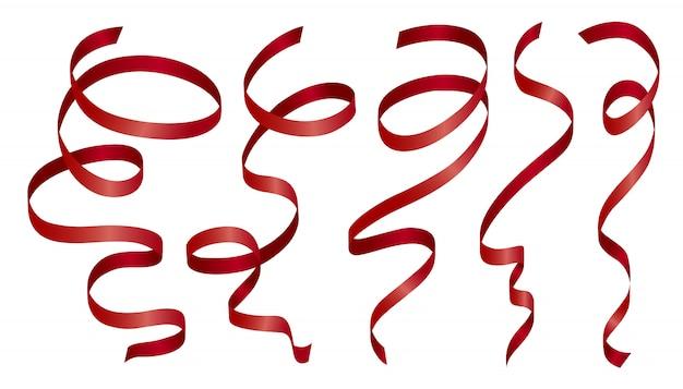 Czerwona wstążka na białym tle