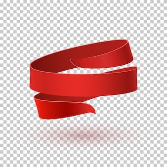 Czerwona wstążka na przezroczystym tle. szablon karty z pozdrowieniami, broszury lub plakatu.