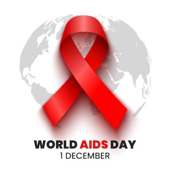 Czerwona wstążka. plakat światowego dnia walki z aids. ilustracja.