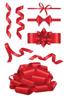 Czerwona wstążka-realistyczny nowoczesny wektor zestaw obiektów o różnych kształtach. białe tło. użyj tych wysokiej jakości elementów clipart do swojego projektu. przetnij czerwoną wstążkę, otwórz pokaz, udekoruj prezent.