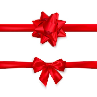 Czerwona wstążka satynowa i widok z góry łuk. element dekoracji na walentynki lub inne święta. na białym tle