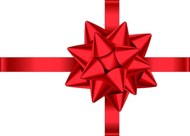 Czerwona wstążka satynowa prezent i łuk na białym tle