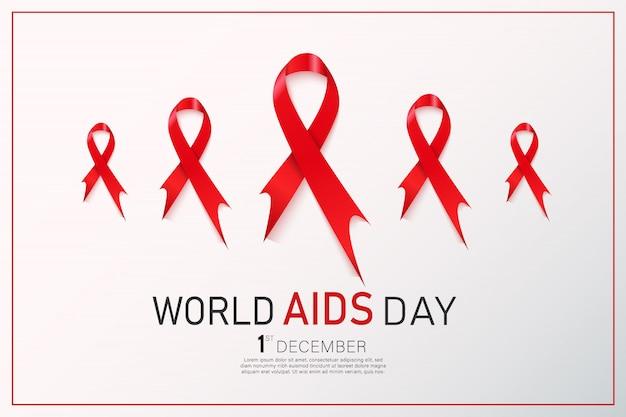 Czerwona wstążka świadomości hiv. koncepcja światowego dnia aids.