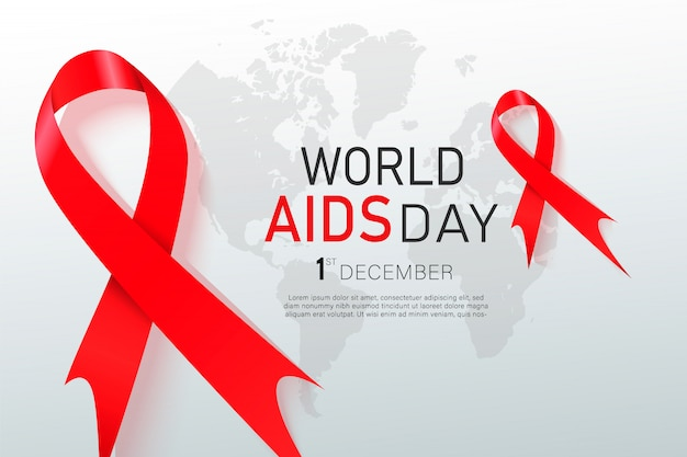 Czerwona wstążka świadomości hiv. światowy dzień aids.