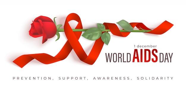 Czerwona wstążka świata pomaga dzień transparent wektor