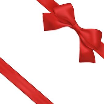 Czerwona wstążka z kokardą. świąteczne dekoracje na prezenty. wektor