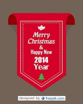 Czerwona wstążka z wesołych świąt i szczęśliwego nowego roku 2014 tekstu