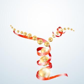Czerwona wstążka ze złotymi perłami.