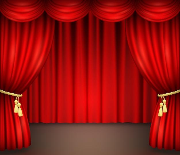 Czerwona zasłona z draperią na scenie teatralnej
