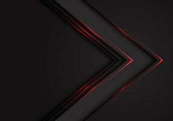 Czerwone światło czarne strzałki kierunek ciemne puste miejsce tło.