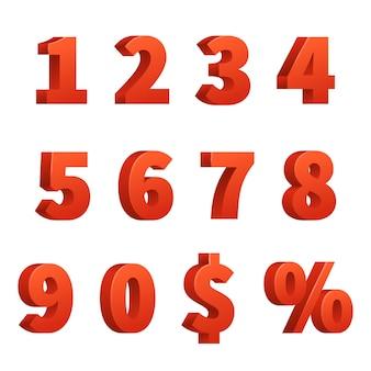 Czerwone 3d numery wektor znaków