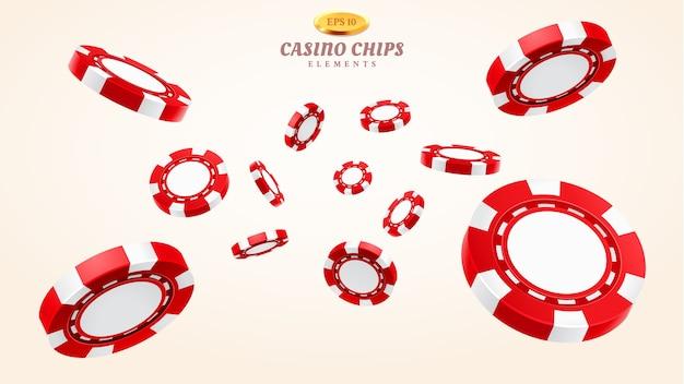 Czerwone 3d żetony do kasyna lub latające realistyczne żetony do hazardu