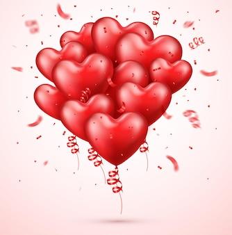 Czerwone balony realistyczne serca z konfetti
