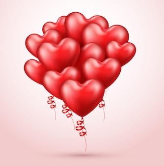 Czerwone balony realistyczne serca