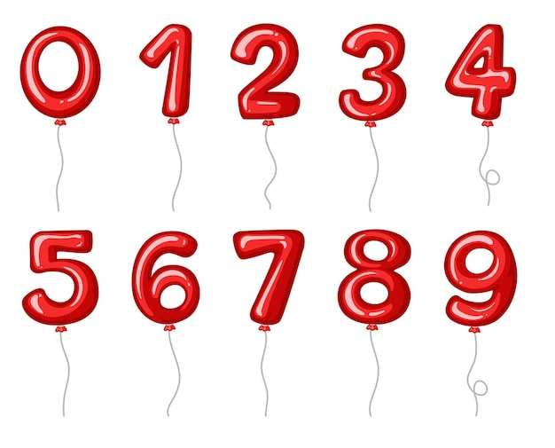 Czerwone balony w kształcie cyfr
