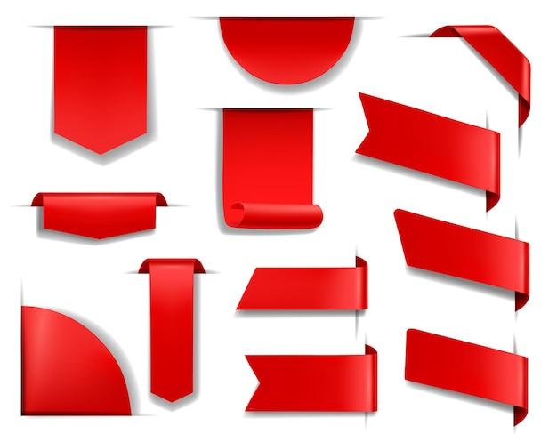 Czerwone banery i etykiety na stronie internetowej