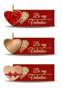 Czerwone banery ustawione na walentynki. bądź moją walentynką. złote serce, serce drewniane, serce w kształcie rubinowego złota.