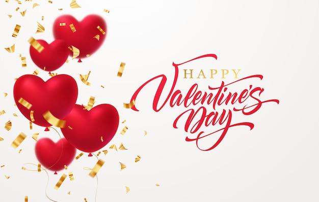 Czerwone błyszczące balony w kształcie serca ze złotym błyszczącym konfetti napisem happy valentines day na białym tle