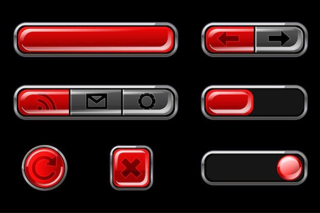 Czerwone błyszczące przyciski z powrotem